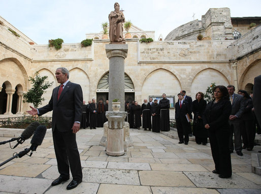 "President George W. Bush makes a statement prior to his departure from the Church of Nativity Thursday, Jan. 10, 2008, in Bethlehem. The President thanked the people of Bethlehem and said he hoped that in the future the people there will be able to move freely in a democratic state. ""That's the vision, greatly inspired by my belief that there is an Almighty,"" said the President, adding, "" And a gift of that Almighty to each man, woman and child on the face of the Earth is freedom. And I felt it strongly today."" White House photo by Eric Draper"
