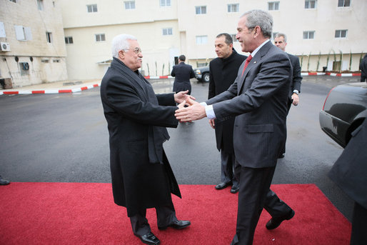 President George W. Bush is greeted at Muqata by President Mahmoud Abbas of the Palestinian Authority upon his arrival Thursday, Jan. 10, 2008, in Ramallah. White House photo by Eric Draper
