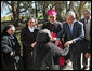 President George W. Bush is greeted by nuns at the Church of the Beatitudes in Galilee Friday, Jan. 11, 2008. The stop marked the last in Israel for President Bush who later arrived in Kuwait City, Kuwait, on the second leg of his eight-day Mideast visit. White House photo by Eric Draper