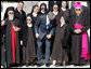 President George W. Bush pauses for a photo opportunity with nuns at the Church of the Beatitudes Friday, Jan. 11, 2008, during his last stop in Israel. White House photo by Eric Draper
