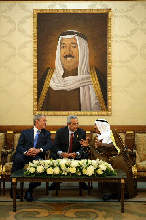 President George W. Bush and Amir Shaykh Sabah Al-Ahmed Al-Jaber Al Sabah share a light moment during their meeting at Kuwait International Airport Friday, Jan. 11, 2008, shortly after the President's arrival from Israel. White House photo by Eric Draper
