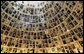 Photos and history of Holocaust victims frame the ceiling of the Hall of Names at Yad Vashem, the Holocaust Museum in Jerusalem. President George W. Bush visited the museum Friday, Jan. 11, 2008, paying his respects before continuing on to Galilee. White House photo by Chris Greenberg