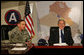 President George W. Bush and Gen. David Petraeus meet Saturday, Jan. 12, 2007, at Camp Arifjan, Kuwait. White House photo by Eric Draper