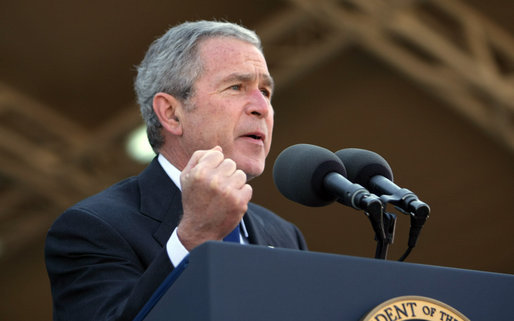 "President George W. Bush emphasizes a point as he speaks to troops at Camp Arifjan Saturday, Jan. 12, 2008, in Kuwait. Said the President, ""There is no doubt in my mind when history is written, the final page will say: Victory was achieved by the United States of America for the good of the world; that by doing the hard work now, we can look back and say, the United States of America is more secure, and generations of Americans will be able to live in peace."" White House photo by Eric Draper"