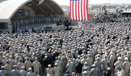 An estimated 4,000 troops listen to remarks by President George W. Bush Saturday, Jan. 12, 2008, at Camp Arifjan, Kuwait. White House photo by Chris Greenberg