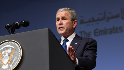 "President George W. Bush delivers remarks in Abu Dhabi, United Arab Emirates, after arriving Sunday, Jan. 13, 2008. The President told his audience, ""As you build a Middle East growing in peace and prosperity, the United States will be your partner."" White House photo by Eric Draper"