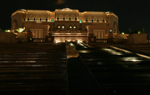 The Emirates Palace Hotel in Abu Dhabi is lit up Sunday, Jan. 13, 2008. President George W. Bush is overnighting at the hotel before continuing his eight-day visit to the Mideast. White House photo by Chris Greenberg
