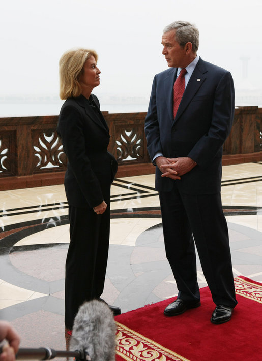 President George W. Bush is interviewed Monday, Jan. 14, 2008, by Greta Van Susteren of Fox News at the Emirates Palace in Abu Dhabi. White House photo by Eric Draper