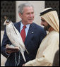 President George W. Bush holds a falcon shown to him by Sheikh Mohammed Bin Rashid al-Maktoum, Vice President and Prime Minister of the United Arab Emirates, Monday, Jan. 14, 2008, during a visit to Sheikh Saeed Al Maktoum House in Dubai. White House photo by Eric Draper