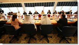 President George W. Bush speaks to young Arab leaders Monday, Jan. 14, 2008, during a roundtable discussion at the Burj Al Arab Hotel in Dubai. White House photo by Eric Draper