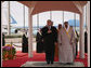President George W. Bush and King Abdullah bin Abdul Al-Aziz stand for their national anthems Monday, Jan. 14, 2008, after the President arrived at Riyadh-King Khaled International Airport in Riyadh, Saudi Arabia. White House photo by Eric Draper