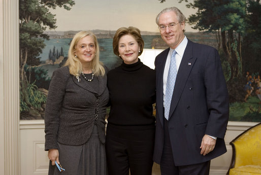 Mrs. Laura Bush meets with George and Trish Vradenberg, both of the Vradenburg Foundation, at the White House on January 9, 2008. Mrs. Bush participated in an interview with Trish Vradenburg on her father's battle with Alzheimer's Disease. To find out more about Alzheimer's Disease, visit www.alz.org. White House photo by Joyce N. Boghosian