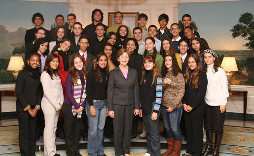 Mrs. Laura Bush poses for a photo with the Brazil Youth Ambassadors during their visit to the White House, Monday, Jan. 14, 2008. The organization promotes intercultural understanding among Brazilian and American youth. White House photo by Shealah Craighead