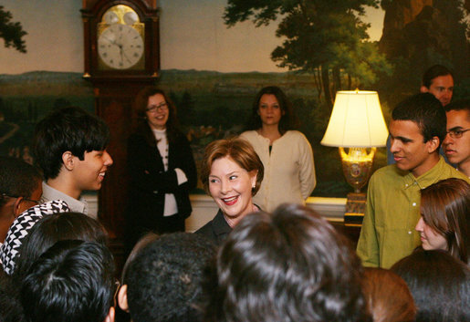 Mrs. Laura Bush speaks with members of the Brazil Youth Ambassadors group during their visit to the White House, Monday, Jan. 14, 2008. The organization promotes intercultural understanding among Brazilian and American youth. White House photo by Shealah Craighead