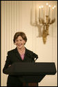 "Mrs. Laura Bush delivers remarks during a ceremony for the Institute of Museum and Library Services in the East Room at the White House Monday, January 14, 2008. ""Our country is fortunate to have so many outstanding museums and libraries."" Mrs. Bush said during her remarks, ""This year, we've expanded the IMLS awards to recognize ten institutions -- all with impressive collections, and a strong sense of responsibility to the communities that they serve."" The Institute of Museum and Library Services National Awards for Museum and Library Service honor outstanding museums and libraries that demonstrate an ongoing institutional commitment to public service. It is the nation's highest honor for excellence in public service provided by these institutions. White House photo by Shealah Craighead"