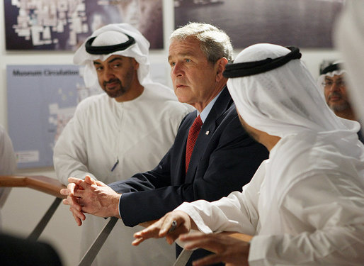 President George W. Bush participates in a tour of the Saadiyat Island Cultural District Exhibition and Masdar Exhibition Monday, Jan. 14, 2008, at the Emirates Palace Hotel in Abu Dhabi. The President view the exhibit before departing the city for Dubai and Riyadh on the last leg of his Mideast visit. White House photo by Eric Draper
