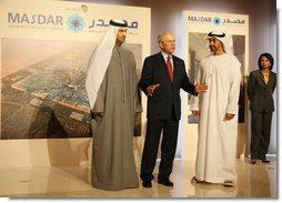 "President George W. Bush comments to the media as he tours the Masdar Exhibition Monday, Jan. 14, 2008, at the Emirates Palace Hotel. Said the President, ""I hope that my visit shines a spotlight on the Middle East, the opportunities to work constructively with our friends and allies, and shows people the truth about what life is like here in the UAE. This is a remarkable place. Its architecture is beautiful. But the can-do spirit is amazing."" White House photo by Eric Draper"