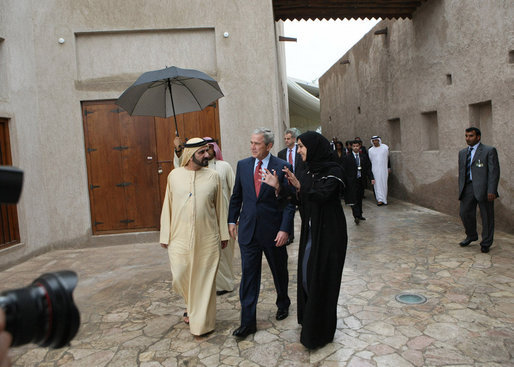 President George W. Bush is escorted on a tour of the Sheikh Saeed Maktoum House, home of Vice President and Prime Minister of the United Arab Emirates Sheikh Mohammed bin Rashid al-Maktoum, left, Monday, Jan. 14, 2008 in Dubai. White House photo by Eric Draper