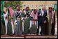 President George W. Bush and Prince Salman bin Abdul Al-Aziz, right, join sword dancers Tuesday, Jan. 15, 2008, during the President's visit to Al Murabba Palace in Riyadh. White House photo by Eric Draper