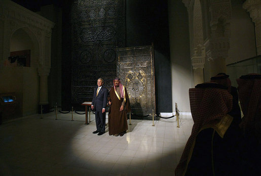President George W. Bush and Prince Salman Bin Abdul Al-Aziz pause for photographers Tuesday, Jan. 15, 2008, during a tour of Al Murabba Palace and National History Museum in Riyadh. White House photo by Eric Draper