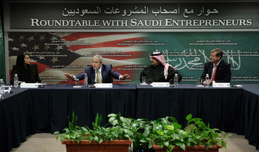President George W. Bush gestures as he talks with Saudi entrepreneurs during a roundtable discussion Tuesday, Jan. 15, 2008, at the U.S. Embassy in Riyadh. White House photo by Chris Greenberg