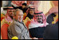 President George W. Bush joins Saudi King Abdullah bin Abd al-Aziz Al Saud, right, at a viewing of the King's prized horses Tuesday, Jan. 15, 2008 at the monarch's ranch in Al Janadriyah, Saudi Arabia. White House photo by Eric Draper