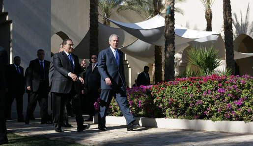 President George W. Bush and Egypt's President Hosni Mubarak walk to the podium for their joint availability Wednesday, Jan. 16, 2008 in Sharm El Sheikh, Egypt. President Bush visited the seaside town on the final stop of his eight-day, Mideast trip. White House photo by Chris Greenberg