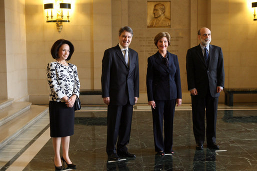 Mrs. Laura Bush poses for photos with Nabi Sensoy, Turkish Ambassador to the United States, his wife Gulgun Sensoy, and Dr. Ben Bernanke, Federal Reserve Chairman Friday January 18, 2007, during a visit to the Contemporary Turkish Painting Exhibit at the Federal Reserve in Washington, D.C. White House photo by Shealah Craighead