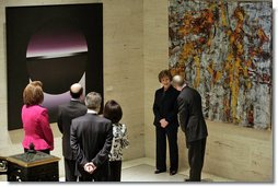 Mrs Laura Bush participates in a tour of the Contemporary Turkish Painting Exhibit Friday January 18, 2007, at the Federal Reserve in Washington, D.C. Mrs. Bush is accompanied on the tour by Nabi Sensoy, Turkish Ambassador to the United States, his wife Gulgun Sensoy, and Ambassador Nancy Brinker, Chief of Protocol of the United States. The tour was led by Dr. Ben Bernanke, Federal Reserve Chairman, and Stephen Phillips, Federal Reserve Fine Arts Director. White House photo by Shealah Craighead