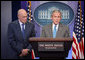 "With Secretary of Treasury Hank Paulson looking on, President George W. Bush delivers a statement on the Bipartisan Economic Growth Agreement Thursday, Jan. 24, 2008, in the James S. Brady Press Briefing Room at the White House. Said the President, ""I thank the Speaker and I thank Leader Boehner for their hard work. and for showing the American people that we can come together to help our nation deal with difficult economic challenges."" White House photo by Chris Greenberg"