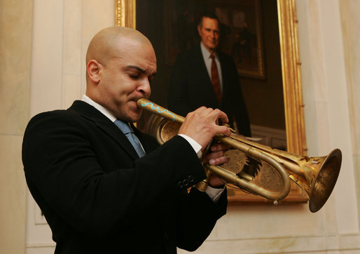 Jazz trumpeter Irvin Mayfield entertains during a reception at the White House, Monday, Jan. 28, 2008, prior to the State of the Union. Mr. Mayfield, a New Orleans native and appointed cultural ambassador for the city, joined Mrs. Laura Bush in the First Lady's Box for the President's address. White House photo by Chris Greenberg