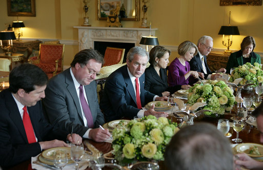 President George W. Bush speaks with television correspondents Monday, Jan. 28, 2008, during a luncheon at the White House prior to his final State of the Union speech later this evening. White House photo by Eric Draper