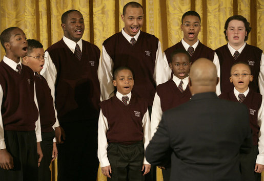 "The Richmond Boys Choir, led by Artistic Director Billy Dye, performs during the Coming Up Taller awards ceremony Monday, Jan. 28, 2008, in the East Room of the White House. In thanking the choir afterwards, Mrs. Laura Bush said, ""I like that you sang Stevie Wonder's song, ""Always,"" because I think that's what children in each one of these programs that we've represented today will learn in your programs, and that is that somebody will love them always."" White House photo by Shealah Craighead"