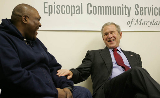 President George W. Bush and Thomas Boyd, a graduate of the Jericho Program, share a laugh Tuesday, Jan. 29, 2008, during the President's visit to the Baltimore faith-based program that helps men rebuild their lives and return to positive, productive roles. White House photo by Joyce N. Boghosian