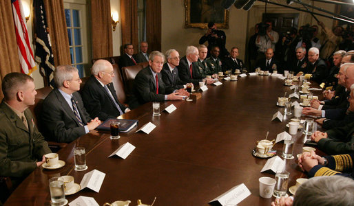 President George W. Bush addresses reporters Tuesday, Jan. 29, 2008, during a meeting in the Cabinet Room of the White House with the Joint Chiefs and Combatant Commanders. White House photo by Eric Draper