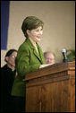 Mrs. Laura Bush delivers a speech Wednesday, Jan. 30, 2008, at Holy Redeemer School in Washington, D.C. White House photo by Shealah Craighead