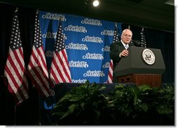 Vice President Dick Cheney delivers remarks on the state of the economy, the war on terror and pending FISA legislation Thursday, Jan. 31, 2008, to the Charlotte Chamber of Commerce in Charlotte, N.C. White House photo by David Bohrer