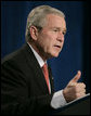 "President George W. Bush emphasizes a point as he speaks Thursday, Jan. 31, 2008, on the global war on terror. Speaking to the Nevada Policy Research Institute at the Emerald at Queensridge in Las Vegas, the President told his audience, ""Ours is a fabulous country. We are a dedicated, compassionate people, aiming to lay the foundation of peace for generations to come. I told you early, some see the world and tremble. I see the world and see opportunities. And the great opportunity before us is to lay the foundation of peace, and that is exactly was we're doing."" White House photo by Eric Draper"