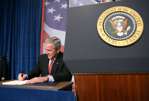 "President George W. Bush signs a 15-day extension to the Protect America Act Thursday, Jan. 31, 2008, during his visit to Las Vegas. ""This Protect America Act and its strengthening is essential to the security of the United States of America. I expect members from both political parties to get this work done so our professionals can protect the American people,"" said the President. ""This will give people and Congress time to pass a good piece of legislation that makes sure that our professionals have the tools necessary to do their job, and provides liability protection to carriers who it is assumed helped us in protecting the American people."" White House photo by Eric Draper"