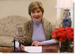 "Taking the opportunity to speak about American Heart Month, Mrs. Laura Bush delivers the weekly radio address from her office in the White House. Said Mrs. Bush, ""This American Heart Month, all of us can be Heart Truth ambassadors. Start by protecting your own heart, and spread the word to others. February is a month known for Valentines. This February, encourage your loved ones to take care of their health. It's the best Valentine's gift you could possibly give."" White House photo by Shealah Craighead"