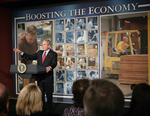 "President George W. Bush delivers a statement on the economy during his stop Friday, Feb. 1, 2008, at Hallmark Cards, Inc. in Kansas City, Mo. The President told his audience, ""I've got an agenda for Congress. I'm looking forward to working with them on how to stimulate the economy in the short-term, but make sure we remain a strong economy in the long-term. And I'm looking forward to working with them."" White House photo by Eric Draper"