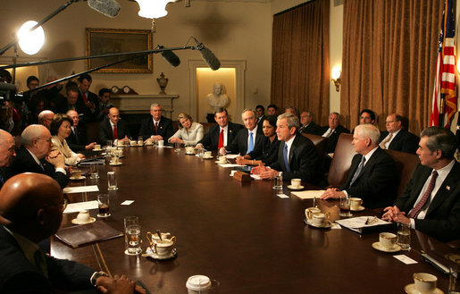 "President George W. Bush meets with members of his Cabinet Monday, Feb. 4, 2008, in the Cabinet Room of the White House. In speaking about the Budget that was sent to Congress, the President said, ""This is a good, solid budget. It's not only an innovative budget, in that it's coming to Congress over the Internet, it's a budget that's balanced -- gets to balance in 2012 and saves taxpayers money."" White House photo by Joyce N. Boghosian"