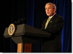 "President George W. Bush speaks about the devastation left in the wake of overnight tornadoes across the South as he delivers remarks during the ceremonial swearing in Wednesday, Feb. 6, 2008, of Ed Schafer as Secretary of the U.S. Department of Agriculture. Said the President, ""Today before we begin this important ceremony, I do want the people in those states to know the American people are standing with them.""  White House photo by Chris Greenberg"