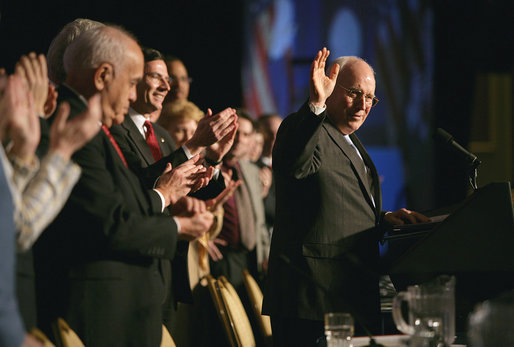 Vice President Dick Cheney receives a welcome before delivering his remarks at the 35th Conservative Political Action Conference Thursday, Feb. 7, 2008, in Washington, D.C. White House photo by David Bohrer