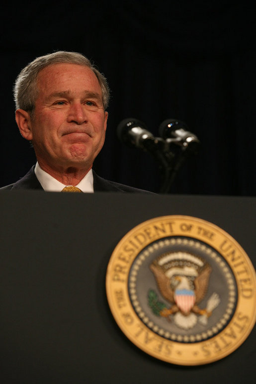 "President George W. Bush acknowledges the applause as he attends the 56th National Prayer Breakfast Thursday, Feb. 8, 2008, at the Washington Hilton Hotel. Said the President, ""Every President since Dwight Eisenhower has attended the National Prayer Breakfast -- and I am really proud to carry on that tradition. It's an important tradition, and I'm confident Presidents who follow me will do the same. The people in this room come from many different walks of faith. Yet we share one clear conviction: We believe that the Almighty hears our prayers -- and answers those who seek Him."" White House photo by Joyce N. Boghosian"