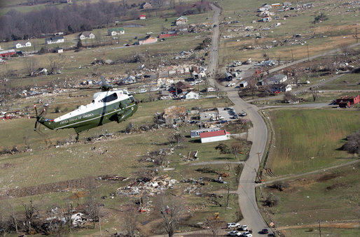 Marine One, carrying President George W. Bush, flies over a swath of destruction near Lafayette, Tennessee, as he arrived Friday, Feb. 8, 2008, to see first-hand the damage left in the wake of Tuesday's tornadoes. White House photo by Chris Greenberg