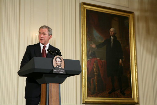 President George W. Bush makes remarks during a ceremony in the East Room of the White House honoring Abraham Lincoln's 199th Birthday, Sunday, Feb. 10, 2008. White House photo by Chris Greenberg