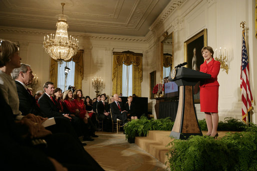Mrs. Laura Bush addresses her remarks at The Heart Truth reception Monday, Feb. 11, 2008, in the East Room of the White House, part of a national awareness campaign that warns women of the dangers of heart disease. Mrs. Bush, joined by President George W. Bush at the reception, has served as the National Ambasasador for The Heart Truth national campaign since 2003. White House photo by Shealah Craighead
