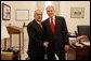 President George W. Bush stands with Dr. Salam Fayyad, Prime Minister of the Palestinian Authority, during his visit Monday, Feb. 11, 2008, to the White House for a meeting with Stephen Hadley, National Security Advisor. White House photo by Joyce N. Boghosian