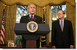 "With Michael McConnell, Director of National Intelligence, looking on, President George W. Bush delivers a statement on the Protect America Act Wednesday, Feb. 13, 2008, in the Oval Office of the White House. Said the President, ""It is time for Congress to ensure the flow of vital intelligence is not disrupted. It is time for Congress to pass a law that provides a long-term foundation to protect our country. And they must do so immediately.""  White House photo by Joyce N. Boghosian"